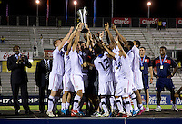 The United States U-17 team celebrates after the finals of the CONCACAF Men's Under 17 Championship at Catherine Hall Stadium in Montego Bay, Jamaica. The United States defeated Canada, 3-0, in overtime