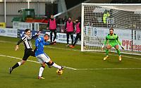 30th December 2020; St Mirren Park, Paisley, Renfrewshire, Scotland; Scottish Premiership Football, St Mirren versus Rangers; Kemar Roofe of Rangers shoots to make it 1-0 to Rangers in the 26th minute
