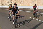 The lead group featuring Adam Yates (GBR) Ineos Grenadiers, race leader Red Jersey Tadej Pogacar (SLO) UAE Team Emirates and Sepp Kuss (USA) Team Jumbo-Visma on the final climb up Jebel Hafeet during Stage 3 of the 2021 UAE Tour running 166km from Al Ain to Jebel Hafeet, Abu Dhabi, UAE. 23rd February 2021.  <br /> Picture: LaPresse/Fabio Ferrari | Cyclefile<br /> <br /> All photos usage must carry mandatory copyright credit (© Cyclefile | LaPresse/Fabio Ferrari)