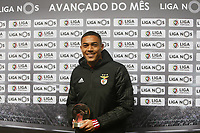 1st October 2020;   CarlVinicius of SL Benfica poses for a photo with the month MVP award during the Liga Nmatch between SL Benfica and CD Aves at Estadio da Luz on January 10, 2020 in Lisbon, Portugal. Vinicius moved to Tottenham Hotspur on a season long loan on 1st October 2020.