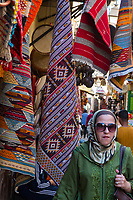 Fes, Morocco.  Carpets for sale in the Medina.