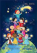 Interlitho, Simonetta, CHRISTMAS CHILDREN, naive, paintings, pyram.of kids, globe, KL5871,#XK# Weihnachten, Navidad, illustrations, pinturas