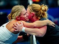 Alphen aan den Rijn, Netherlands, December 15, 2018, Tennispark Nieuwe Sloot, Ned. Loterij NK Tennis, Womans wheelchair final : Winner Dide de Groot (NED) is congratulated by Aniek van Koot (NED) (R)<br /> Photo: Tennisimages/Henk Koster