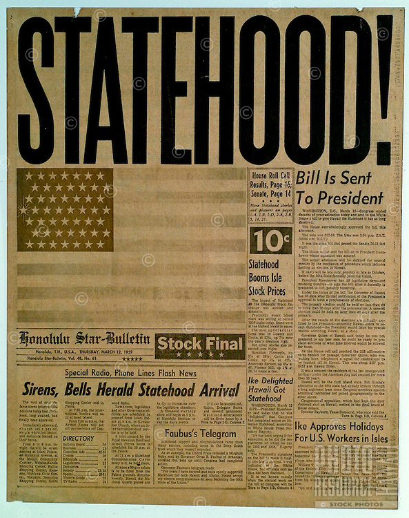 Front page of newspaper in 1959 proclaiming Hawaii as the 50th State.