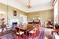 BNPS.co.uk (01202) 558833. <br /> Pic: Strutt&Parker/BNPS<br /> <br /> Pictured: Dining room. <br /> <br /> A grand Georgian manor where writer Evelyn Waugh lived and died is on the market for £5.5m.<br /> <br /> The author of Vile Bodies, Brideshead Revisited and Sword of Honour bought Combe Florey House in Somerset in 1956 and his family lived there until 2008 when they sold it to the current owners.<br /> <br /> In Waugh's day the house was often filled with his glamorous and clever guests like poet John Betjeman, actors Peter Cook and Alec Guinness and writers Salman Rushdie and Muriel Spark.<br /> <br /> The 12-bedroom house has had a makeover since Waugh's day and quirky style and is now a light-filled spacious family home with a party barn, swimming pool and 34 acres.
