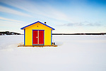 Floating shed frozen into Yellowknife Bay