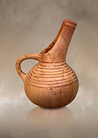 Very early Minoan single handled jug butial goods, Pygros burial cave,  3000-2600 BC BC, Heraklion Archaeological  Museum.