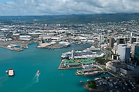 Aerial of Honolulu Harbor with Aloha Tower and Cruise ship