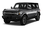 2021 Ford Bronco Outer-Banks 5 Door SUV Angular Front automotive stock photos of front three quarter view
