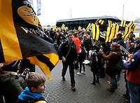 Photo: Richard Lane/Richard Lane Photography. Wasps v Newcastle Falcons. Aviva Premiership. 06/02/2016. Wasps' Jamie Stevenson with supporters as the team arrive at the stadium.
