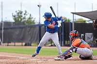 New York Mets Jeremy Vasquez (20) bats during a Minor League Spring Training game against the Houston Astros on April 27, 2021 at FITTEAM Ballpark of the Palm Beaches in Palm Beach, Fla.  (Mike Janes/Four Seam Images)