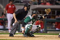 Charlotte 49ers catcher Derek Fritz (26) receives a pitch as  home plate umpire Drew Maher looks on during the game against the Georgia Bulldogs at BB&T Ballpark on March 8, 2016 in Charlotte, North Carolina. The 49ers defeated the Bulldogs 15-4. (Brian Westerholt/Four Seam Images)