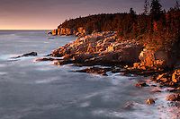 Monument Cove and Otter Cliffs at dawn, Acadia National Park, near Bary Harbor, Maine, USA