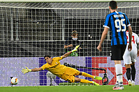 21st August 2020, Rheinenergiestadion, Cologne, Germany; Europa League Cup final Sevilla versus Inter Milan;  Sevilla's goalkeeper Yassine Bounou (Bono) can't hold the penalty of Milan's Lukaku (not in the picture) who scores for 0:1.