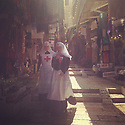 Jerusalem - Nuns walking around the old city on a hot summer day.