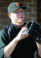 Former Limestone College baseball player Kevin Pucetas, now a member of the San Francisco Giants' 40-man roster, was back in Gaffney working out with the Limestone Saints on Feb. 1, 2010. Pucetas, a right-handed pitcher, threw a bullpen session at the Limestone field. Photo by: Tom Priddy/Four Seam Images