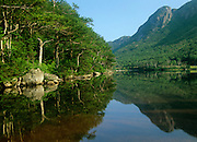 The reflection of Eagle Cliff in Profile Lake at Franconia Notch State Park in New Hampshire.