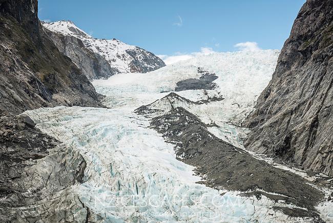 Defiance and Main Icefalls of retreating Franz Josef Glacier, Westland National Park, West Coast, World Heritage, South Island, New Zealand
