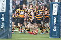 2015 ULSTER SCHOOLS CUP FINAL | Tuesday 17th March 2015<br /> <br /> RBAI celebrate Lewis McNamara's try during the 2015 Ulster Schools Cup Final between RBAI and Wallace High School at the Kingspan Stadium, Ravenhill Park, Belfast, Count Down, Northern Ireland.<br /> <br /> Picture credit: John Dickson / DICKSONDIGITAL