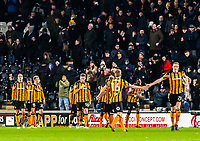 Hull City's midfielder Seb Larsson (16) and Hull City's defender Michael Dawson (21) celebrate the opening goal during the Sky Bet Championship match between Hull City and Sheff United at the KC Stadium, Kingston upon Hull, England on 23 February 2018. Photo by Stephen Buckley / PRiME Media Images.