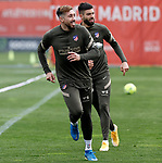 Atletico de Madrid's Hector Herrera (l) and Felipe Augusto during training session. March 3,2021.(ALTERPHOTOS/Atletico de Madrid/Pool)