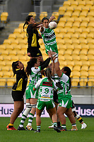 Rachael Rakatau of the Manawatu catches the ball during the Farah Palmer Cup Rugby – Wellington v Manawatu at Sky Stadium, Wellington, New Zealand on Friday 25 September 2020. <br /> Photo by Masanori Udagawa. <br /> www.photowellington.photoshelter.com