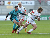 25 October 2020; John Andrew of Ulster in action against Sam Davies of the Dragons during the Guinness PRO14 match between Ulster and Dragons at Kingspan Stadium in Belfast. Photo by John Dickson/Dicksondigital