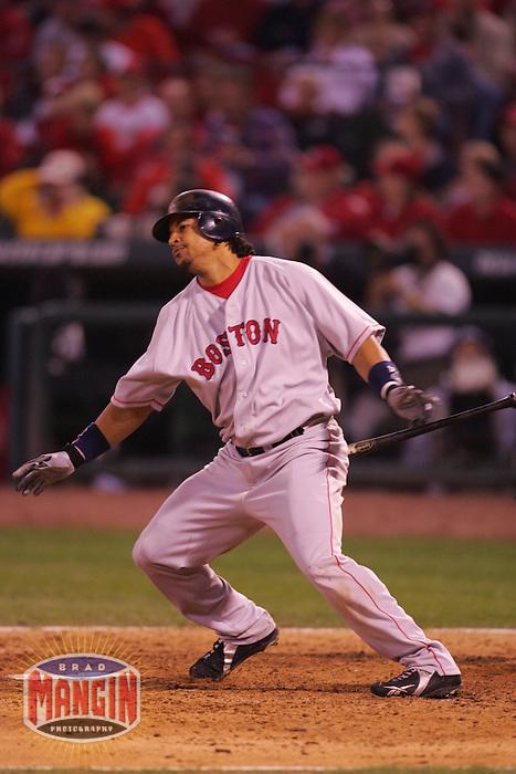 Manny Ramirez. Baseball: 2004 World Series. St. Louis Cardinals vs Boston Red Sox. St. Louis, MO 10/27/2004 MANDATORY CREDIT: Brad Mangin/MLB Photos