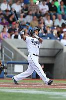 Gerard Hernandez (4) of the Hillsboro Hops bats during a game against the Salem-Keizer Volcanoes at Ron Tonkin Field on July 26, 2015 in Hillsboro, Oregon. Hillsboro defeated Salem-Keizer, 4-3. (Larry Goren/Four Seam Images)