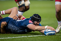 4th June 2021; AJ Bell Stadium, Salford, Lancashire, England; English Premiership Rugby, Sale Sharks versus Harlequins; Bevan Rodd of Sale Sharks stretches for the line and scores a try
