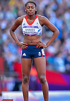 August 05, 2012: Perri Shakes-Drayton of GBR is set to compete in round one of women's 400m hurdles at the Olympic Stadium on day nine of 2012 Olympic Games in London, United Kingdom.