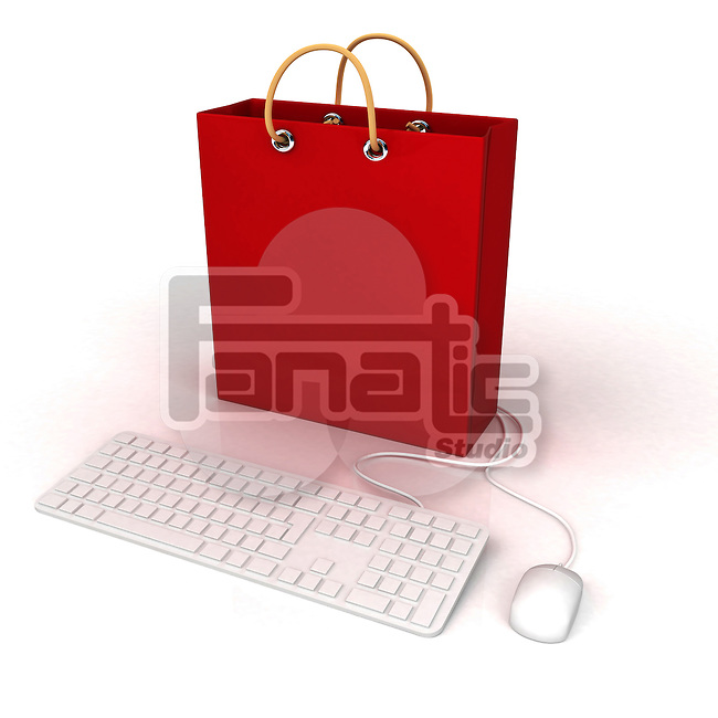 Conceptual shot of online shopping over white background