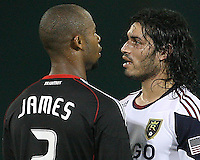 Julius James #2 of D.C. United confronts Fabian Espindola #7  of Real Salt Lake during an Open Cup match at RFK Stadium, on June 2 2010 in Washington DC. DC United won 2-1.
