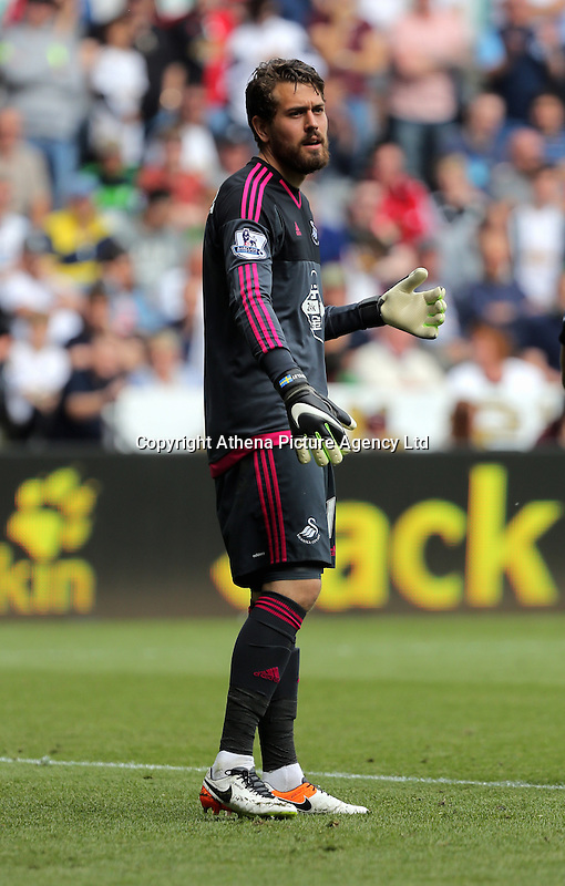 Kristoffer Nordfeldt of Swansea City during the Swansea City FC v Manchester City Premier League game at the Liberty Stadium, Swansea, Wales, UK, Sunday 15 May 2016