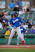 Rancho Cucamonga Quakes first baseman Cristian Santana (5) at bat during a California League game against the Stockton Ports at Banner Island Ballpark on May 16, 2018 in Stockton, California. Rancho Cucamonga defeated Stockton 6-3. (Zachary Lucy/Four Seam Images)