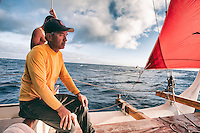Master navigator Nainoa Thompson aboard Polynesian voyaging canoe Hokule'a in the Ka'iwi Channel off the coast of O'ahu, August 9, 2012.