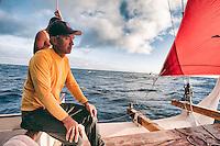 Master navigator Nainoa Thompson aboard Polynesian voyaging canoe Hokule'a in the Ka'iwi Channel off the coast of O'ahu, August 9, 2012.