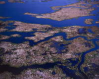 aerial photograph of wetlands in the Mississippi River Delta, Louisiana