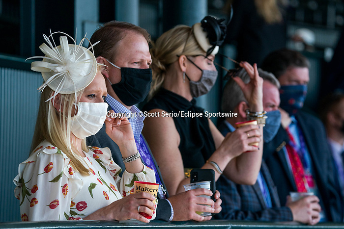 November 6, 2020: Attendees watch horses race during Future Stars Friday gather at Keeneland Racetrack in Lexington, Kentucky, on Friday, November 6, 2020. Scott Serio/Eclipse Sportswire/Breeders Cup/CSM