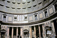 Interior view of the Pantheon showing rotunda walls, columns and ceiling coffers, Rome Italy, 118-125 CE.
