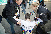 race winner Wout Van Aert (BEL/Vastgoedservice-Golden Palace) needed to be helped back up again after collapsing after the finish line<br /> <br /> Superprestige Francorchamps 2014