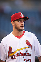 Springfield Cardinals starting pitcher Daniel Poncedeleon (23) walks to the dugout in between innings during a game against the Northwest Arkansas Naturals on April 26, 2016 at Hammons Field in Springfield, Missouri.  Northwest Arkansas defeated Springfield 5-2.  (Mike Janes/Four Seam Images)