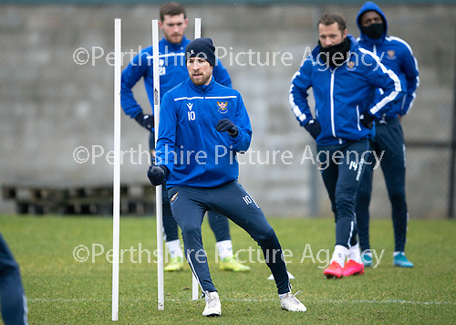 St Johnstone Training…….14.02.20<br />David Wotherspoon pictured during this morning's training session at McDiarmid Park ahead of tomorrows game against Ross County.<br />Picture by Graeme Hart.<br />Copyright Perthshire Picture Agency<br />Tel: 01738 623350  Mobile: 07990 594431