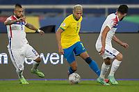 2nd July 2021; Nilton Santos Stadium, Rio de Janeiro, Brazil; Copa America, Brazil versus Chile; Richarlison of Brazil cuts inside Arturo Vidal of Chile
