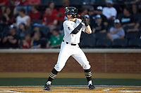 Michael Turconi (6) of the Wake Forest Demon Deacons at bat against the North Carolina State Wolfpack at David F. Couch Ballpark on April 18, 2019 in  Winston-Salem, North Carolina. The Demon Deacons defeated the Wolfpack 7-3. (Brian Westerholt/Four Seam Images)