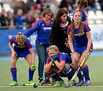 GER - Mannheim, Germany, October 25: Players of Mannheimer HC(blue) down in tears after losing the final of the Deutsche Meisterschaft WJB between Mannheimer HC (blue) and Bremer HC (red) on October 25, 2015 at Mannheimer Hockey Club in Mannheim, Germany. Final score 1-1 (HT 0-1, P 5-3) (Photo by Dirk Markgraf / www.265-images.com) *** Local caption ***