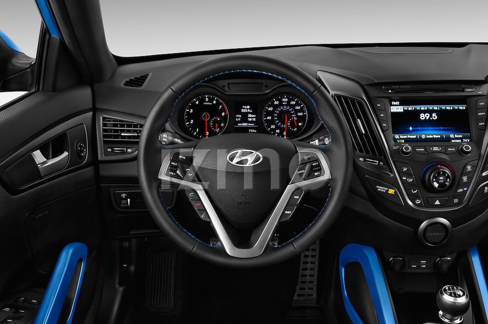 Car pictures of steering wheel view of a 2016 Hyundai Veloster 1.6 Turbo Rally Edition Manual 4 Door Hatchback Steering Wheel