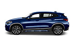 Car Driver side profile view of a 2020 BMW X2 M-Sport-X 5 Door SUV Side View