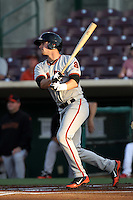 Andrew Susac #9 of the San Jose Giants bats against the Inland Empire 66'ers at San Manuel Stadium on June 11, 2012 in San Bernardino,California.Inland Empire defeated San Jose 12-8.(Larry Goren/Four Seam Images)