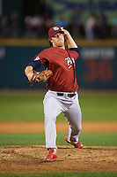 Lehigh Valley IronPigs pitcher Adam Loewen (50) delivers a pitch during a game against the Rochester Red Wings on July 4, 2015 at Frontier Field in Rochester, New York.  Lehigh Valley defeated Rochester 4-3.  (Mike Janes/Four Seam Images)